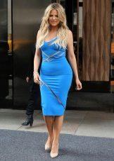 Midi længde blå kjole