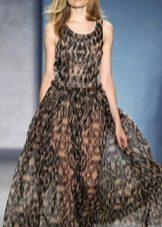 Leopar desenli uzun şifon şeffaf elbise