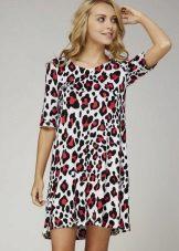 Kırmızı-gri leopar desenli elbise