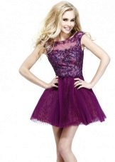 Short evening dress of eggplant color for young girls