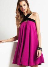 Fuchsia dress with black trim