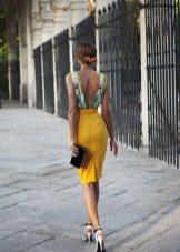 Beautiful dress with mustard skirt