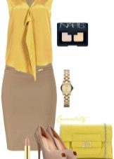 Mustard dress with tan accessories