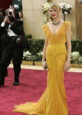 Blonde in mustard dress
