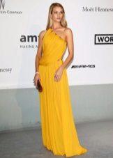 Blonde in a bright mustard dress