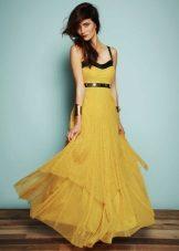 Mustard dress with black trim