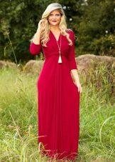 Long raspberry dress with v-neck