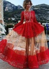 Unusual style of crimson dress