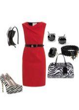 Accessories have a crimson dress