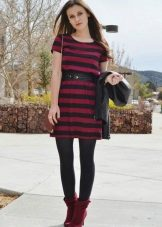 Crimson dress in combination with black