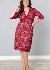 Crimson dress for a full girl