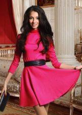 Crimson dress with black belt