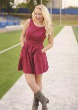 Crimson dress for blonde