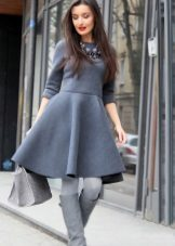 Warm grey dress ng daluyan haba