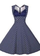 Güzel lacivert puantiyeli elbise