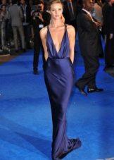 Uzun saten koyu mavi elbise