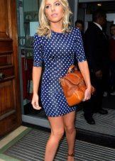 Beyaz bezelye koyu mavi elbise