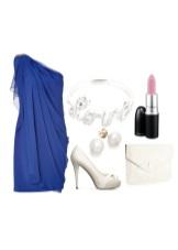 Koyu mavi elbise ışık aksesuarları
