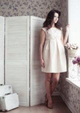 Къса рокля с плътна пола за бременни жени