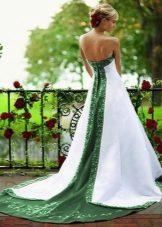 Wedding dress with a green insert