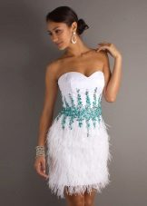 Wedding dress with blue decorations