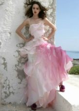 Wedding dress with pink inserts