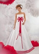 Wedding dress with red elements