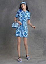 Short blue color dress