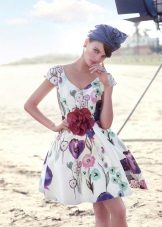 White dress with floral print