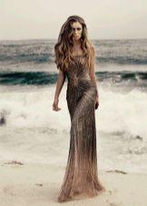 Lang smuk brun kjole