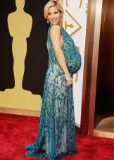 Groene feestelijke kant moederschap jurk