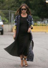 Gebreide lange zwarte moederschap jurk