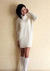 Warm short milk dress