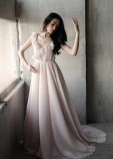 Long milk dress with a pink shade