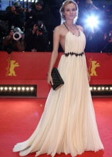 Long dress in the Greek style milky color
