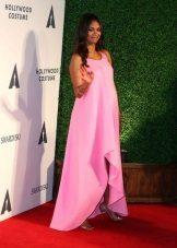 Elegante roze asymmetrische losse jurk voor zwangere vrouwen