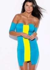 Dress in cyan color in combination with yellow