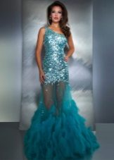 Evening long dress of sea-green color with sequins