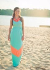 Sea-green dress with coral inserts and bijouterie