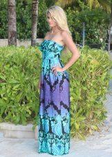 Long dress Tsonovo-purple color with a black pattern