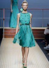 Pleated dress in medium celadon