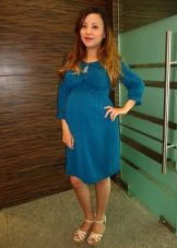 Knit dress in aqua midi length