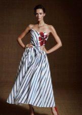 Dress two-tone with diagonal stripes