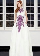 White dress with a purple print