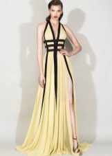 Two-tone evening dress to the floor