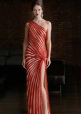 Dress two-tone with diagonal stripes to the floor