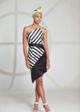 Short two-tone dress with diagonal stripes