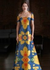 Blue dress with a yellow print