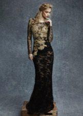 Two-tone lace sheath dress