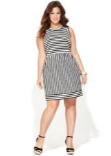 Striped two-tone dress for full